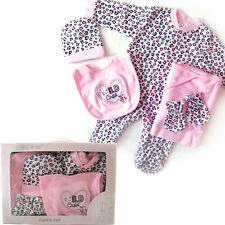 New Baby 5 pcs newborn girl gift box set sleepsuit wrap bib 0-6 months