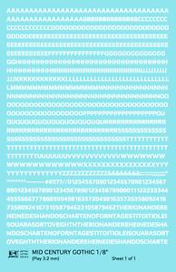 K4 HO Decals White 1/8 Inch Mid Century Gothic Letter Number Alphabet Set