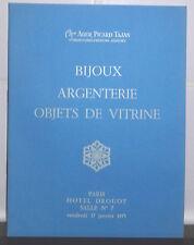 1975 Catalogue de vente Hôtel Drouot Salle N°7 BIJOUX ARGENTERIE OBJETS VITRINE