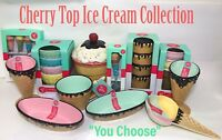 NEW! Cherry Top Ice Cream Bowls Cups Scooper Spoons Sundae Cups Summer 2018 HTF