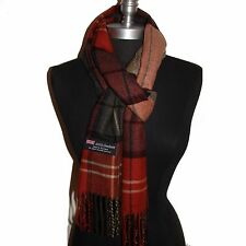 New 100% Cashmere Scarf Rust/Camel check Plaid Wool Soft Unisex (#C5k10)