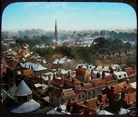 COLOUR Glass Magic Lantern Slide CAMBRIDGE FROM ST JOHNS COLLEGE TOWER C1890