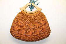 Barbados Frauen Kamel Braune Makramee Handtasche Tasche Holzgriff handgewebten Sommer