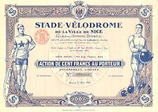 Stade-Velodrome de la Ville de Nice SA, accion, Nice, 1926