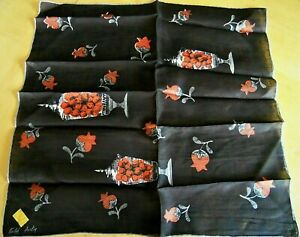 NOS Vintage KIMBALL Brown Linen Handkerchief Signed FAITH AUSTIN Apothecary Jars