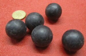 """Neoprene Rubber Ball, Black,  1 1/8"""" Dia, 5 Pcs"""