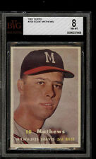 1957 TOPPS #250 EDDIE MATHEWS BVG 8 NM-MT HOF MILWAUKEE BRAVES BASEBALL