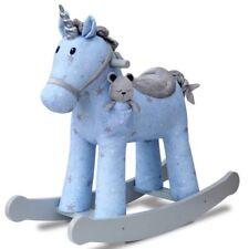 Moonbeam & Rae Kids Rocking Unicorn Soft Plush Horse Wooden Frame & Handles,Blue