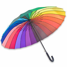 24 Rib Rainbow Umbrella Ultra Durable Deluxe Strong Windproof Large Canopy