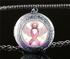Breast Cancer Awareness Cabochon Glass Tibet Silver Locket Pendant Necklace