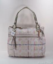 NWT Coach Poppy Signature Ivory Gold Tattersall Sequined Glam Tote Purse 19867