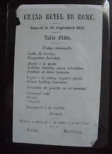 Vintage 1872 Grand Hotel de Rome One Page Menu