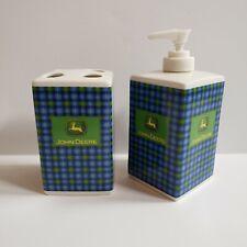 John Deere Toothbrush Holder Lotion Soap Dispenser Green Blue Plaid  Bathroom