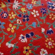 49cm x 88cm Vintage Cotton Fabric 1960s Bright Red Miniature Floral Dress Sewing