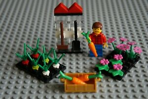 LEGO FARMER MINIFIGURE WITH FLOWERS AND VEGETABLE GARDEN FIELD+GARDEN TOLS  NEW!