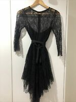 EUC Lover The Label Serpent Black Lace Dress With Silk Slip Size 8 RRP $1,200