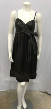 COAST 100% SILK DRESS BROWN GREAT STITCHING BUST AREA LOOKS LIKE LEATHER 40