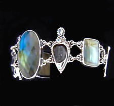 NIB Sajen Carved Wood & Multigem (Labradorite...) GODDESS Bracelet-.925 Sterling