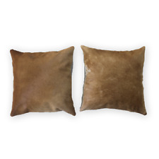 Natural Cowhide Cushion Case Light Brown 16x16 in Original Cow Pelt Pillow Cover