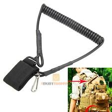 Tactical Lanyard Elastic Spring Coil Sling Rope Keychain Hook for Airsoft Gun