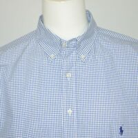 Mint POLO RALPH LAUREN Classic Fit Blue White Plaid Cotton Casual Shirt Sz XLT