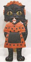 """Vintage Halloween German Lady Cat Diecut Heavily Embossed 1920s 19"""" Tall w Easel"""