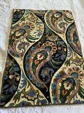 Wool Embroidery Floral Paisley Carpet Artisan Handmade Rug Wall Hanging Tapestry