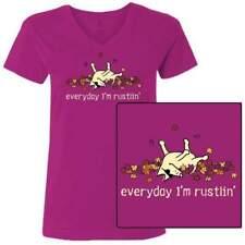 Teddy the Dog T Shirt Every Day I'm Rustlin Ladies V Neck Tee Fall Ltd Ed Autumn
