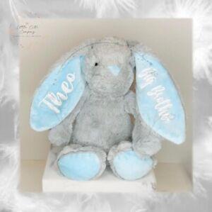 PERSONALISED BUNNY | Teddy Soft Toy New Baby Gift Christmas Christening Boy Girl