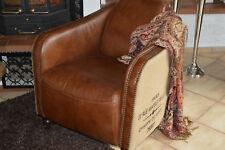 Vintage-Exclusiv-Line-Clubsessel-Designsessel- Leder-Jute bedruckt