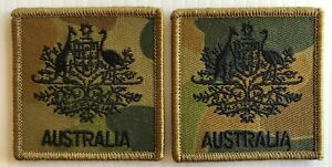 DPCU Army Australia Rank WO1 Patches X2 with Hook Backing