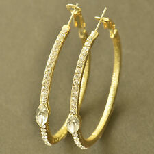 Shiny 9K Yellow Gold Filled Crystal Womens Hoop Earrings 42mm Free Shipping