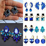 Fashion Women Blue Statement Gold Silver Plated Crystal Big Dangle Drop Earrings