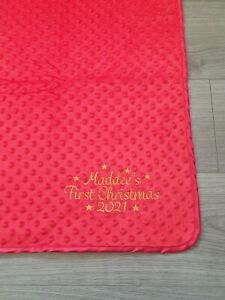 MY FIRST CHRISTMAS PERSONALISED BABY BOY GIRL DIMPLE NAME BLANKET