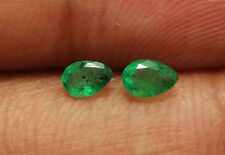 0.40 Ct Natural Pear Shape Top Zambia Emerald Pair Gems Loose Good Quality