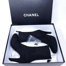 Chanel Sock Boots 15A Black Lambskin Leather Suede Stretch Coco CC Logo 37.5 7.5