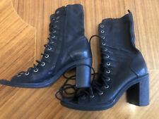 Jeffrey Campbell Black Open Lace Up Boots Sz 7