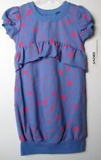 DKNY Girls Blue/Pink Heart Dress (L-12/14) NWOT