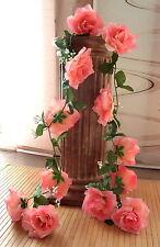 Rosengirlande rosa  ca.250 cm  Blüte ca. 12 cm Kunstblumen -Seidenblumen