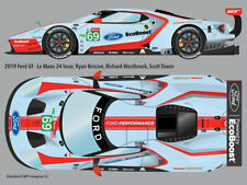 2019 #69 Ford GT retro-livery Le Mans 24hr water transfer decals 1/24 for Revell