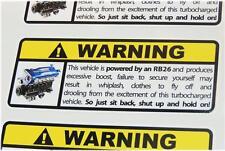 RB26 Warning Sticker Decal Nissan Skyline GTR R32 R33 R34 Drift JDM Japan