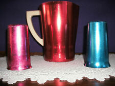 VINTAGE WESTBEND RED ALUMINUM PITCHER WITH BLUE WESTBEND CUP & SUNBURST RED CUP