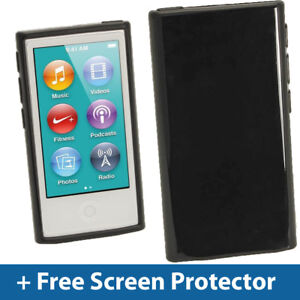 Black Glossy TPU Gel Case for New Apple iPod Nano 7th Generation 7G Cover Shell