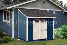 Shed Plans, 8' x 8' Deluxe Lean To Roof Style #D0808L, Free Material List