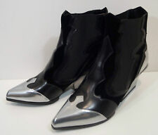 SERGIO ROSSI Black & Silver Metallic Leather Rodeo Ankle Boots EU39.5 - NEW!