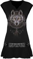 Spiral Wolf Dreams, Stud Waist Mini Dress Black|Wolf|Celtic|Native American