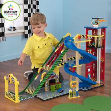 Kidkraft mega rampe racing set en bois, jouet garage avec voitures, ascenseur & rampe