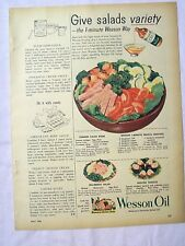1954 Magazine Advertisement Page Wesson Oil For Salad Recipes Dinner Vintage Ad