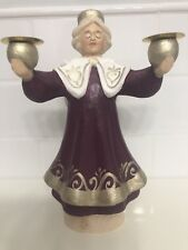 Henning Norway Handcarved Wood Angel Christmas Candle Holder Carved 8 Inches