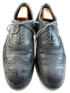 "Allen Edmonds ""McTavish"" Oxford Wingtip 11 D Black Waxed Suede Made in USA (521)"